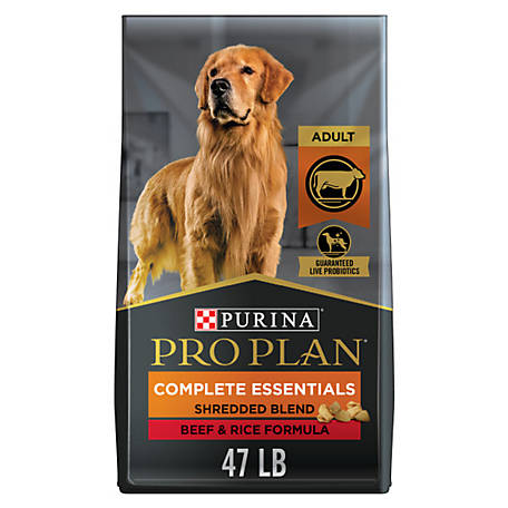 Purina Pro Plan with Probiotics Dry Dog Food, SAVOR Shredded Blend Beef & Rice Formula, 47 lb. Bag