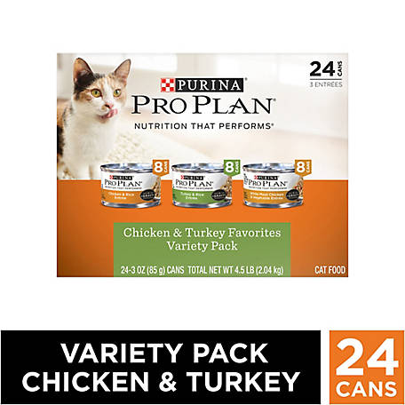 Purina Pro Plan Chicken & Turkey Favorites Adult Wet Cat Food Variety Pack, (24) 3 oz. Cans