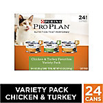Purina Pro Plan Chicken & Turkey Favorites Adult Wet Cat Food 24-Can Variety Pack, 3 oz. Cans