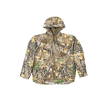 Berne Men's Realtree Edge Camouflage Insulated Hooded Jacket, Rib Knit Bottom, GJ51EDG