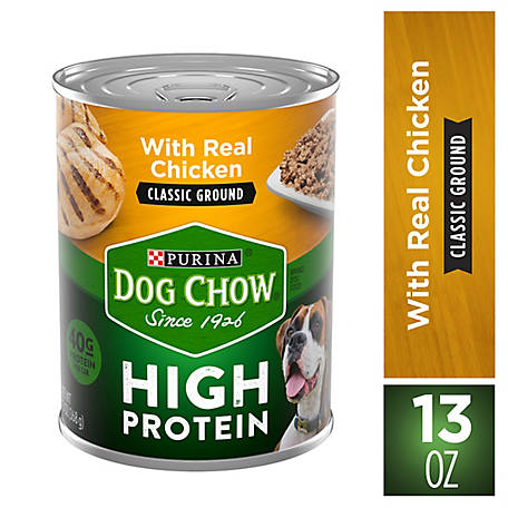 Purina Dog Chow High Protein Pate Wet Dog Food; High Protein with Real Chicken, 13 oz. Can