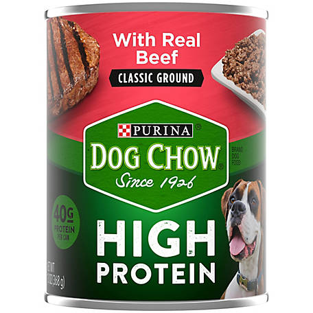 Purina Dog Chow High Protein Pate Wet Dog Food; High Protein with Real Beef, 13 oz. Can
