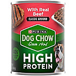 Purina Dog Chow High Protein Pate Wet Dog Food With Real Beef, 13 oz. Can