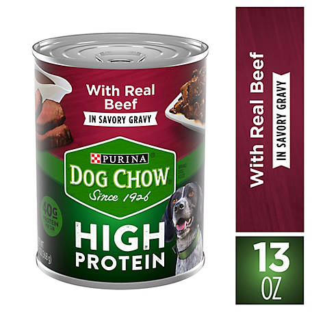 Purina Dog Chow High Protein Gravy Wet Dog Food; High Protein with Real Beef, Can, 13 oz.