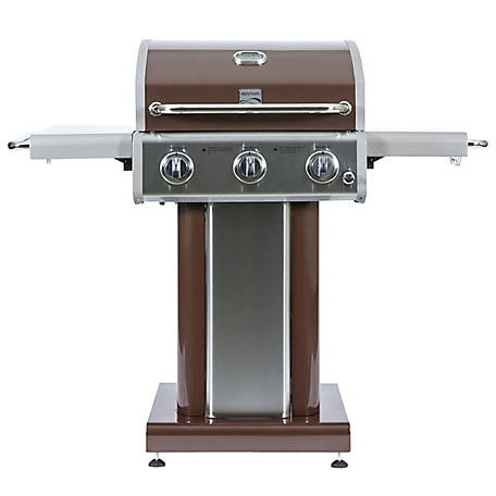 Kenmore 3-Burner Patio Grill with Folding Side Shelves, Mocha