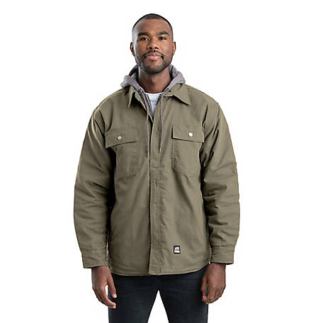 Berne Men's Quilt-Lined Duck Hooded Shirt Jacket, SH68SAG