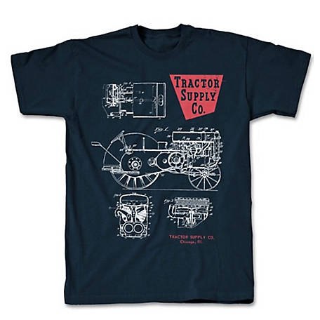 Men's Tractor Blue Print Short Sleeve Graphic T-Shirt