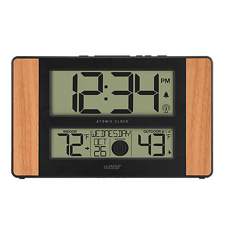 La Crosse Technology Atomic Digital Wall Clock With In/Out Temp & Moon Phase, 513-1417-INT