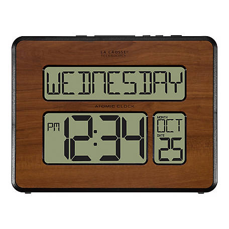 La Crosse Technology Atomic Digital Wall Clock With Walnut Wood Finish, 513-1419-WA-INT