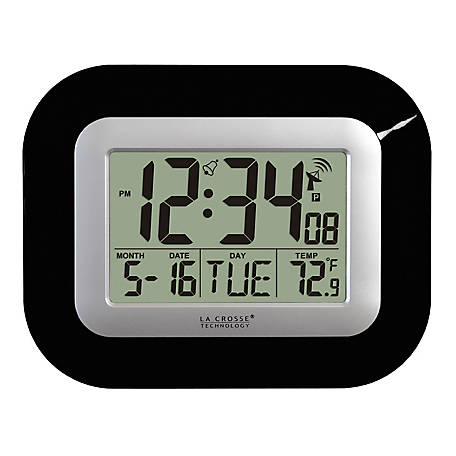 La Crosse Technology Atomic Digital Wall Clock With Indoor Temp, WT-8005U-B-INT