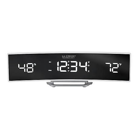 La Crosse Technology White Curved LED Alarm Clock With Temp & Humidity, 602-247