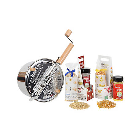Wabash Valley Farms Popcorn Set Stainless Steel Whirley Pop, 36038