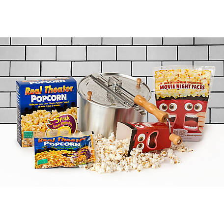 Wabash Valley Farms Whirley-Pop Stovetop Popper and Real Theater 5-Pack plus Pop Open Tubs, 37032