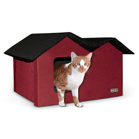 K&H Pet Products Outdoor Kitty House Extra-Wide (Unheated) Red/Black 26.5 in. x 15.5 in. x 21.5 in., 100213616