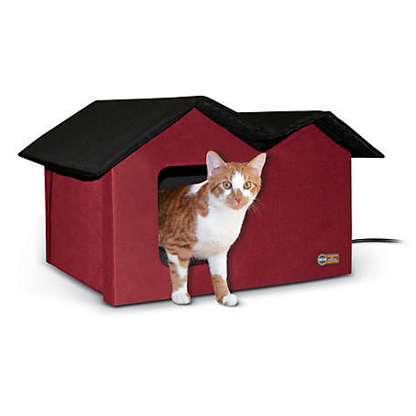 K&H Pet Products Outdoor Heated Kitty House Extra-Wide Barn Red/Black 26.5 in. x 15.5 in. x 21.5 in. 20W, 100213579