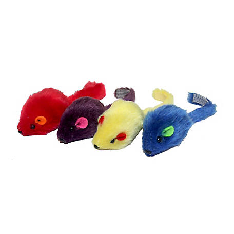 Multipet Multi Colored Mice 4-Pack, 20133