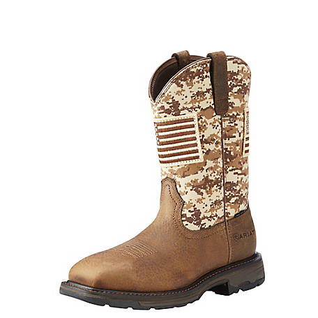Ariat Men's Workhog Camo Patriot Steel Toe Work Boot