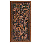 Hooey Rodeo Tooled Leather Wallet, Saddle Brown Tooling & Embossed Dark Green Logo