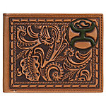 Hooey Bi-Fold Tooled Leather Wallet, Saddle Brown Tooling & Embossed Dark Green Logo