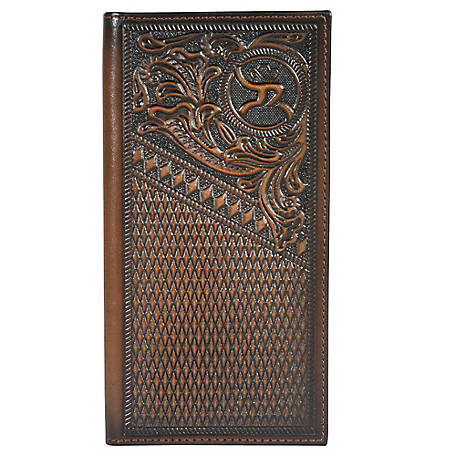 Hooey Rodeo Tooled Leather Wallet, Dark Chocolate Tooled