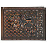 Hooey Bi-Fold Tooled Leather Wallet, Dark Chocolate Tooled