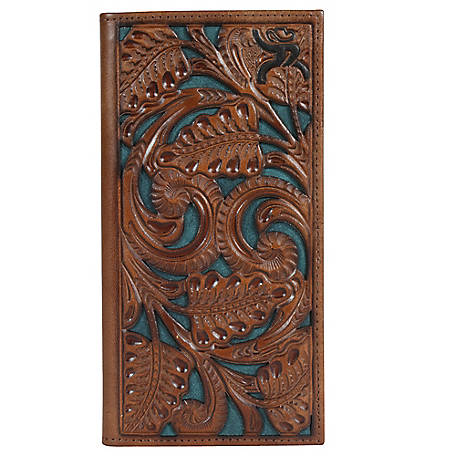 Hooey Rodeo Tooled Leather Wallet, Chestnut Tool With Green Inlay