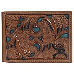Hooey Bi-Fold Tooled Leather Wallet, Chestnut Tool With Green Inlay