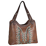 Justin Tote Western Bag, Caramel With Turquoise Stitching