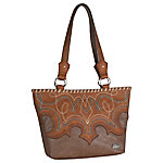 Justin Tote Western Straight Opening Bag , Tawny With Boot Stitch & Whip Stitch
