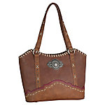 Justin Tote Western Bag, Sienna With Beige Lacing & Old Silver Concho