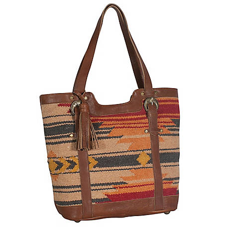 Genuine Leather Tony Lama Tote, Hand Woven Aztec Rug, Leather Back, Straps & Tassel