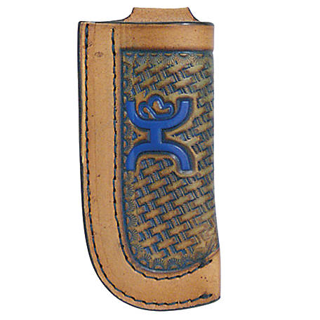 Hooey Genuine Leather Signature Knife Sheath, Blue Embossed