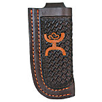 Hooey Genuine Leather Signature Knife Sheath, Orange Embossed