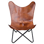 AmeriHome Leather Butterfly Chair In Natural Tan, BFCLC