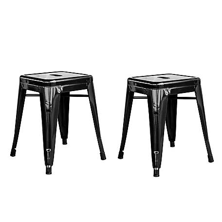 AmeriHome 18 in. Stackable Metal Bar Stool, 2-Piece Set, BS18BLK