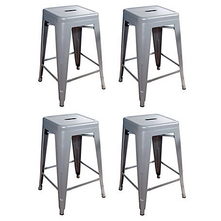 Magnificent Amerihome 24 In Stackable Metal Bar Stool 4 Piece Set Uwap Interior Chair Design Uwaporg