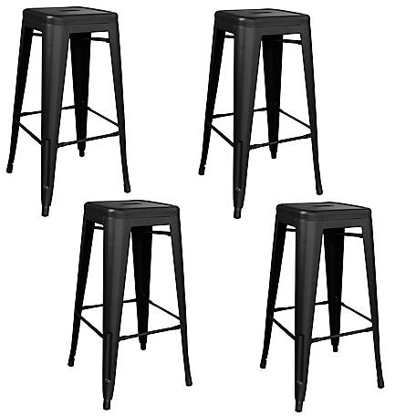 AmeriHome Outdoor Black Metal Bar Stool 4-Piece Set, BSZB30SET