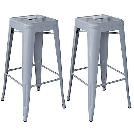 AmeriHome Outdoor Silver Metal Bar Stool 2-Piece Set, BSZG302PK