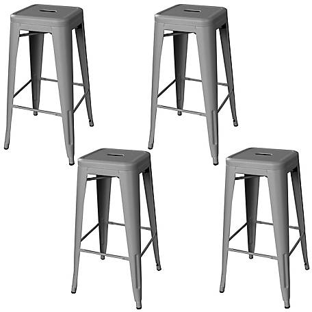 AmeriHome Outdoor Silver Metal Bar Stool, 4-Piece Set, BSZG30SET