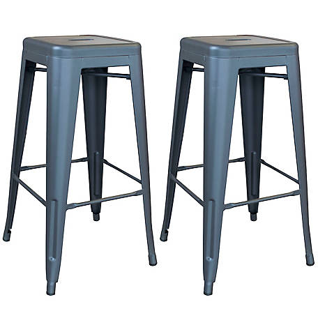 AmeriHome Outdoor Gray Metal Bar Stool, 2 Piece Set, BSZGM302PK