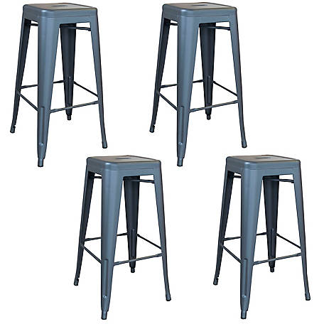 AmeriHome Outdoor Gray Metal Bar Stool 4-Piece Set, BSZGM30SET