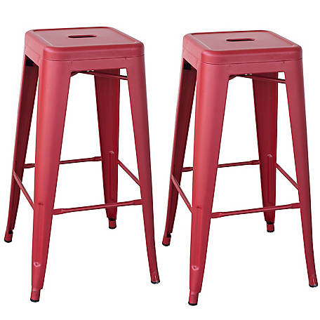 AmeriHome Outdoor Red Metal Bar Stool 2-Piece Set, BSZR302PK