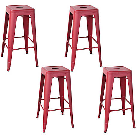 AmeriHome Outdoor Red Metal Bar Stool, 4-Piece Set, BSZR30SET