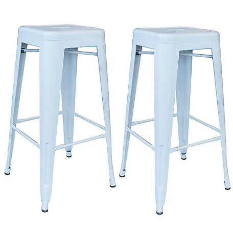 AmeriHome Outdoor White Metal Bar Stool 2-Piece Set, BSZW302PK