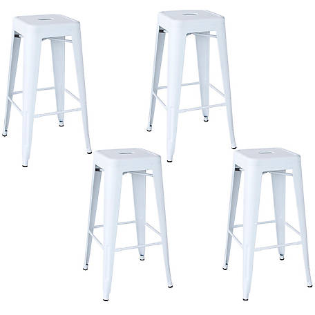 AmeriHome Outdoor White Metal Bar Stool 4-Piece Set, BSZW30SET