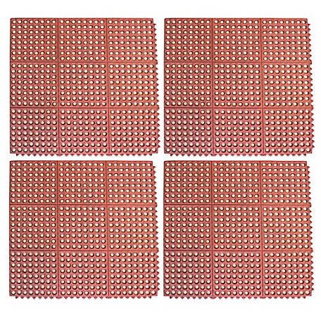 Buffalo Tools 3 x 3 ft. Interlocking Rubber Mat Set Red, RDRMTI334