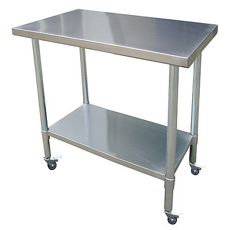 Sportsman Series 24 in. x 36 in. Stainless Rolling Work Table, SSWTWC36 in.