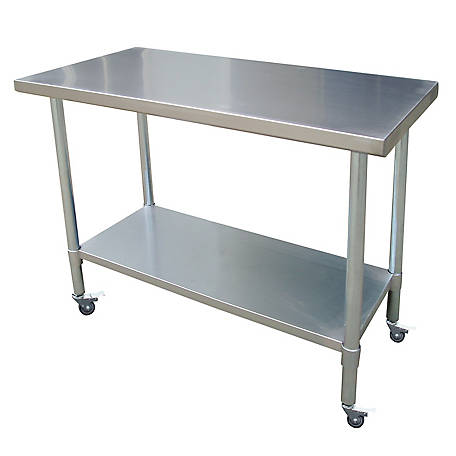 Sportsman Series 24 in. x 48 in. Stainless Rolling Work Table, SSWTWC48 in.