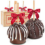 A Gift Inside Milk And Dark Chocolate Covered Caramel Apples Pair In A Wooden Gift Crate