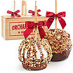 A Gift Inside Nuts For Chocolate Covered Caramel Apples Pair In A Wooden Gift Crate